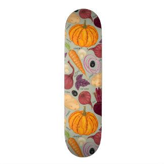 Retro background from fresh vegetables skateboard