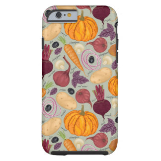 Retro background from fresh vegetables tough iPhone 6 case