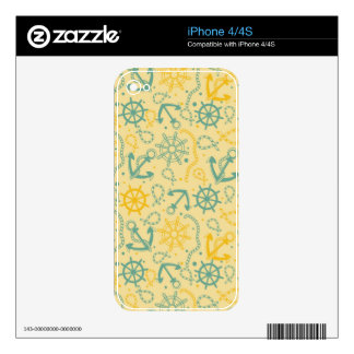 Retro background with anchor, ropes iPhone 4S decal