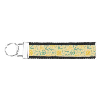 Retro background with anchor, ropes wrist keychain