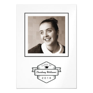 Retro Badge Logo Class of 2016 Graduation Photo Magnetic Card