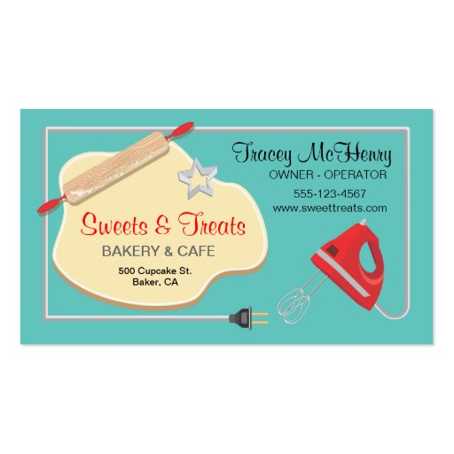 Retro Bakery Cookie Business card Bread Back (front side)