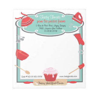 Retro baking and cooking Note pad recipe order