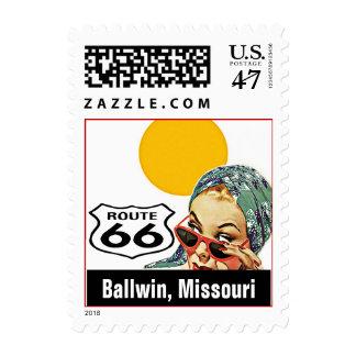 Retro Ballwin Missouri MO Travel Route 66 Vintage Postage