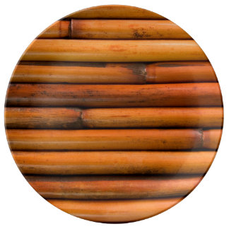 Retro Bamboo Texture Pattern Porcelain Plates