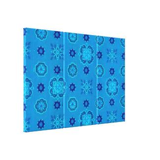 Retro Bandanna Blue Stretched Canvas Print