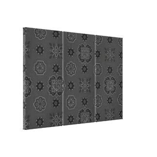 Retro Bandanna Charcoal Stretched Canvas Print