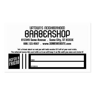 retro barbershop referral card