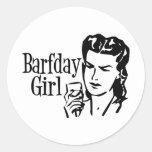 Retro Barfday Girl - Black & White Round Sticker