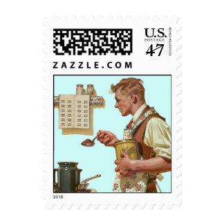 Retro Barista Coffee Making maker Postage Stamps