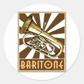 Retro Baritone Classic Round Sticker