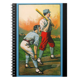 Retro Baseball Game Ad 1885 c crop Notebook