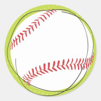 Retro Baseball Return Address Sticker Seal Round Sticker
