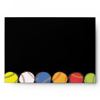 Retro Baseball Themed Bar Bat Mitzvah Envelope zazzle_envelope