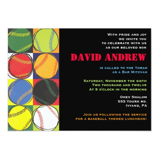 "Retro Baseball Themed Bar Bat Mitzvah Invitation 5"" X 7"" Invitation Card"
