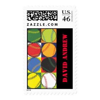 Retro Baseball Themed Postage Stamp zazzle_stamp