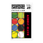Retro Baseball Themed Postage Stamp