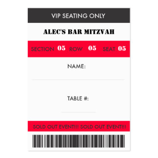 Retro Baseball Themed VIP Seating Escort Ticket Large Business Cards (Pack Of 100)
