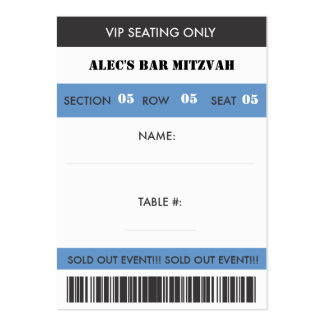 Retro Baseball Themed VIP Seating Ticket Large Business Cards (Pack Of 100)
