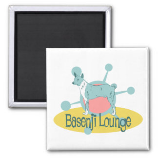 Retro Basenji Lounge 2 Inch Square Magnet