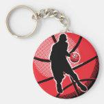 Retro Basketball Player Ball Key Chain
