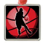Retro Basketball Player Ball Metal Ornament