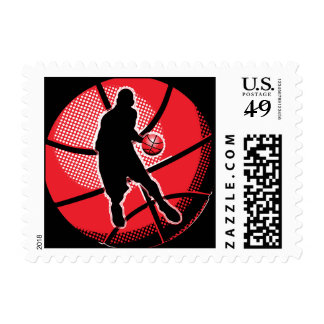 Retro Basketball Player Ball Postage