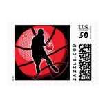 Retro Basketball Player Ball Postage