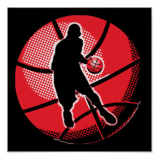 Retro Basketball Player Ball Poster