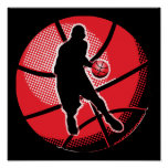 Retro Basketball Player Ball Print