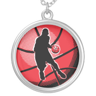 Retro Basketball Player Ball Silver Plated Necklace