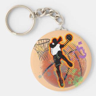RETRO BASKETBALL PLAYER DESIGN BASIC ROUND BUTTON KEYCHAIN