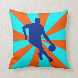 Retro Basketball Player Throw Pillow