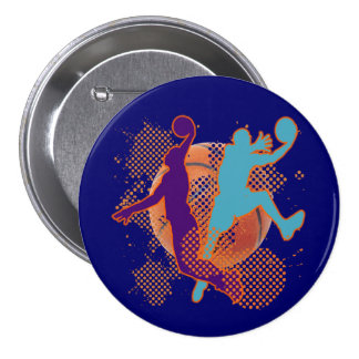 RETRO BASKETBALL PLAYERS 3 INCH ROUND BUTTON