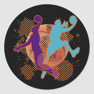 RETRO BASKETBALL PLAYERS CLASSIC ROUND STICKER