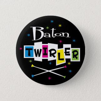Retro Baton Twirler Button