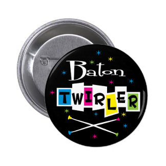 Retro Baton Twirler Button