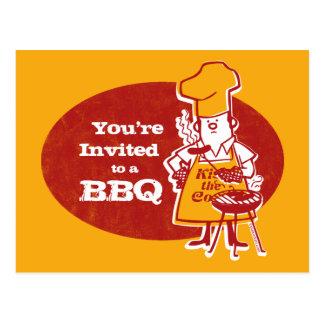 Retro BBQ Chef Postcard Invitation