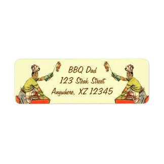 Retro BBQ Dad Label