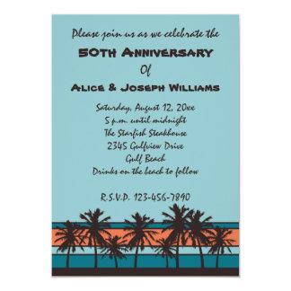 Retro Beach 50th Anniversary Party Invitations