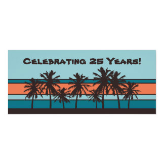 Retro Beach Anniversary Party Invitations