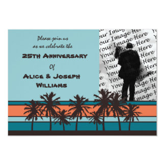 Retro Beach Anniversary Party Photo Invitations