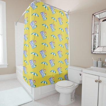 Beach Themed Retro Beach Ball Crab Towel Umbrella Custom Yellow Shower Curtain