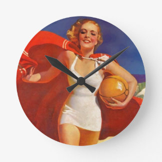 Retro Beach Bathing Beauty PinUp Red Clock Vintage