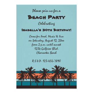 Retro Beach Birthday Party Invitations