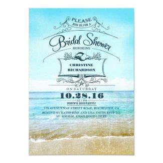 """Retro beach blue ombre bridal shower invites 5"""" x 7"""" invitation card"""