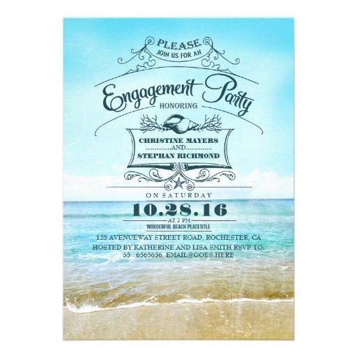 Retro beach blue ombre engagement party invites