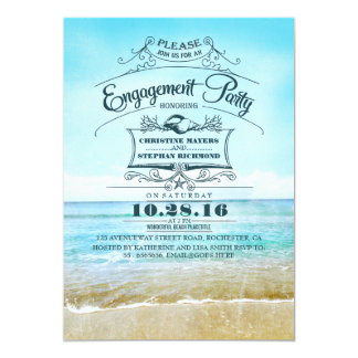 Retro beach blue ombre engagement party invites