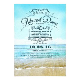 Retro beach blue ombre rehearsal dinner invites