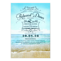 Retro beach blue ombre rehearsal dinner invites